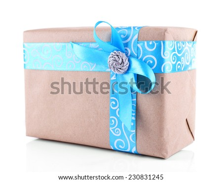 Holiday gift box decorated with blue ribbon isolated on white - stock photo
