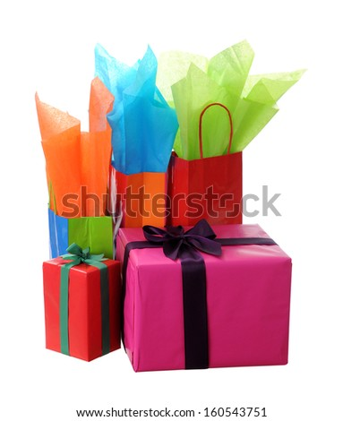 Holiday gift boxes and bags isolated on white  - stock photo
