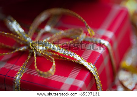 Holiday gift boxes decorated, close-up - stock photo