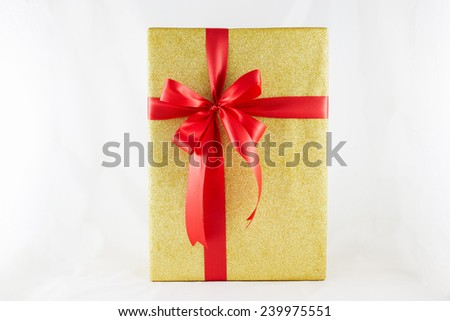 Holiday gift boxes decorated with ribbon isolated on white background. - stock photo