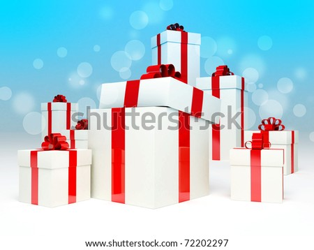 Holiday gift boxes decorated with ribbon  on blue background. - stock photo