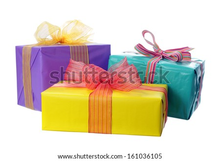Holiday gift boxes  isolated on white  - stock photo
