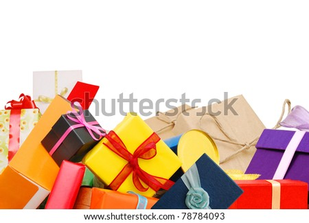 Holiday gifts background - stock photo