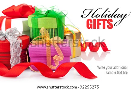 holiday gifts with ribbon and bow isolated on white background