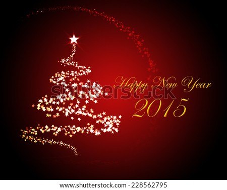Holiday greeting card for New Year's Eve 2015 with a christmas tree  - stock photo