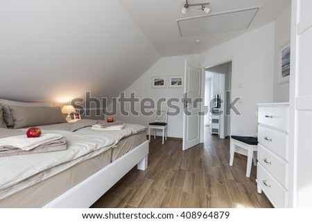 holiday home bedroom - stock photo