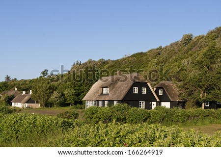 Holiday homes with thatched roof at a hill near Ebeltoft, Denmark
