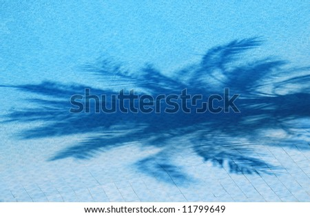 holiday hotel. swimming pool with the shadow of the palm - stock photo
