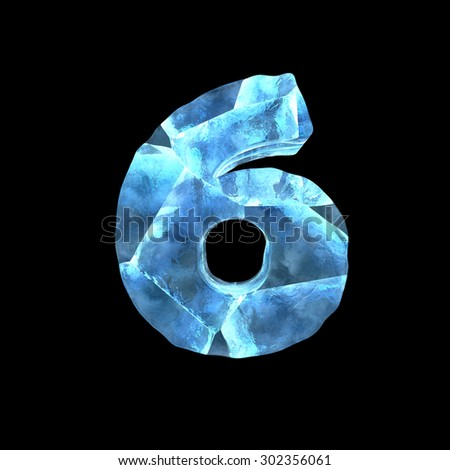 Holiday ice alphabet on dark background (number 6) - stock photo