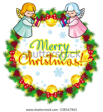 "Holiday label with angels and written text ""Merry Christmas!"". Design element for New Year decorations. Raster clip art."