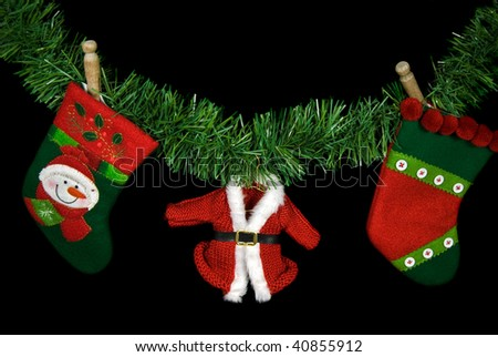holiday laundry with old clothespin - stock photo