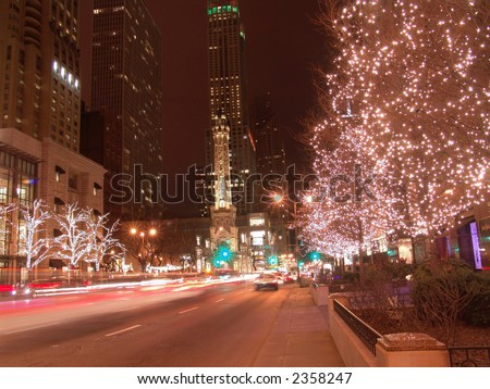 Holiday Lights on Michigan Avenue, Chicago - stock photo