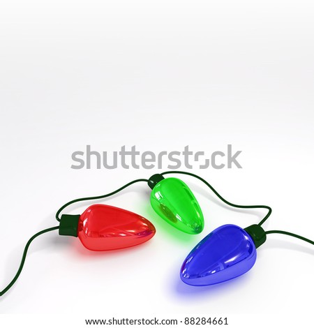 Holiday Lights over White - stock photo
