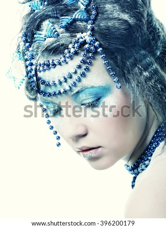 Holiday Make-up.Beautiful Woman's Face  - stock photo