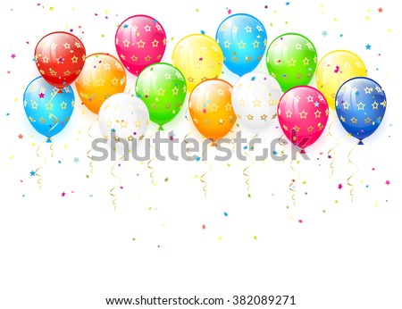 Holiday multicolored balloons and confetti on white background, illustration.