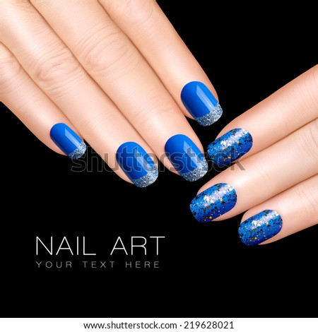 holiday nail art luxury blue nail polish glitter nail stickers in