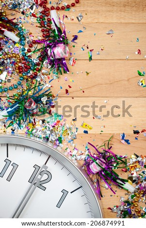 Holiday: New Year's Eve Clock Party Background - stock photo