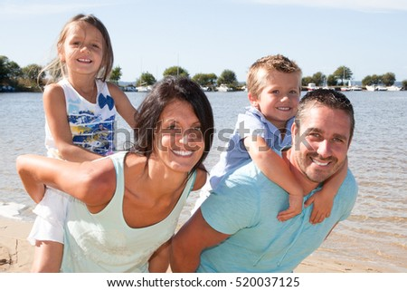 Holiday on the beach family with two childreen