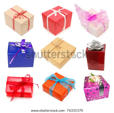 Holiday packing boxes on gifts - stock photo