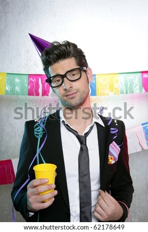 Holiday party young man funny glasses suit open handkerchief - stock photo