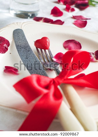 Holiday place setting for Valentine day special celebration meals, selective focus
