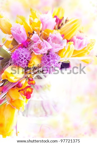 Holiday Postcard. Beautiful Spring Flowers - Yellow Tulips as Festive Art Background - stock photo