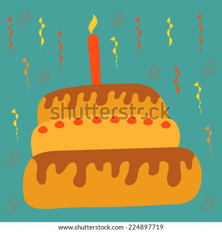 Holiday postcard with a festive cartoon cake with one burning candle on a blue background