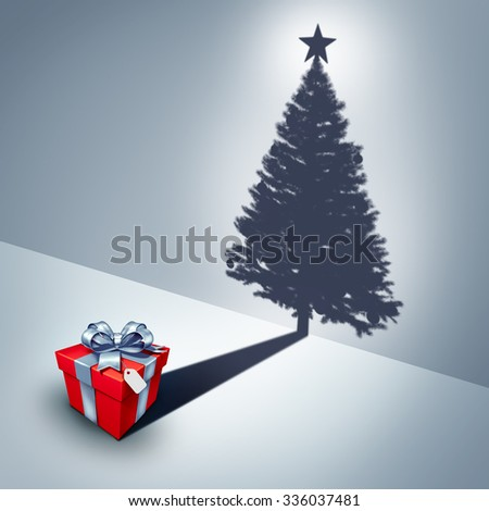 Holiday present dream concept as a gift casting a shadow shaped as a decorated christmas tree as a surreal winter celebration metaphor for the spirit of giving and xmas celebration symbol. - stock photo
