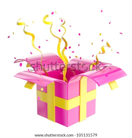 Holiday present gift box with pink and orange confetti and shiny serpentine isolated on white - stock photo