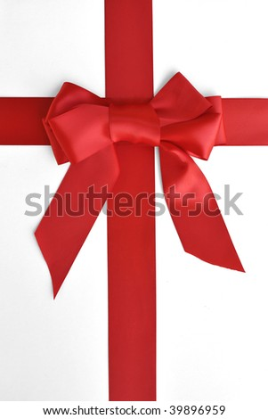 holiday red bow and ribbon gift box