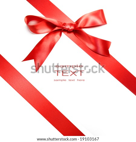 Holiday red bow isolated on white background