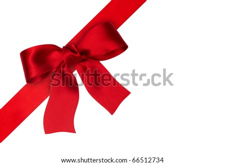 holiday red ribbon on the white background
