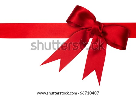holiday red ribbon on the white background - stock photo