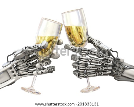 Holiday robots. Technology 3d illustration - stock photo