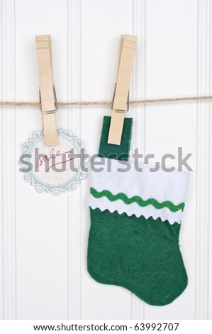 Holiday Sale Concept with Sale Tag Hanging on a Clothesline. - stock photo