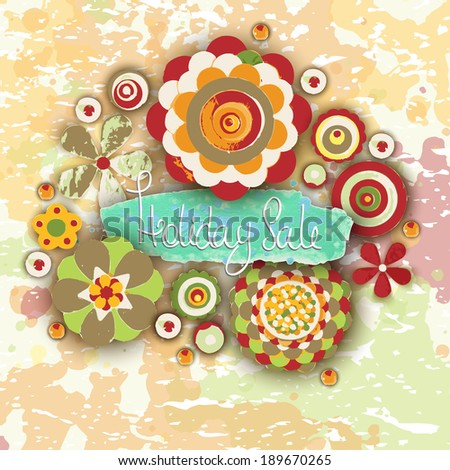 Holiday sale. Offer tag, motivational background. Discount. Flowers made of acrylic, Watercolor, handmade, from original canvas art. Grunge paint banner with brush stroke effect. 3d shadows. - stock photo