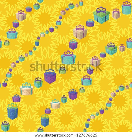 Holiday seamless background with a pattern of festive gift boxes and star. - stock photo