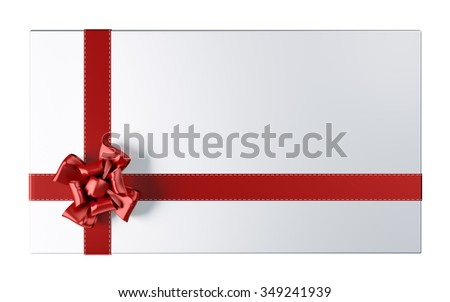 Holiday silver card with red bow and ribbon isolated 3d rendering - stock photo