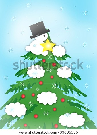 Holiday Spirit - Little Snowman Trimming Tree - stock photo
