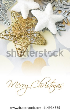 Holiday stars on background with hearts - stock photo