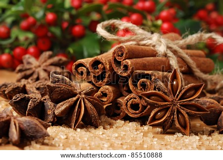 Holiday still life of spices and pure cane sugar with freshly cut holly branches in soft focus in background.  Macro with shallow dof. - stock photo