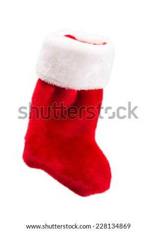 Holiday Stocking on a White Background, Christmas - stock photo
