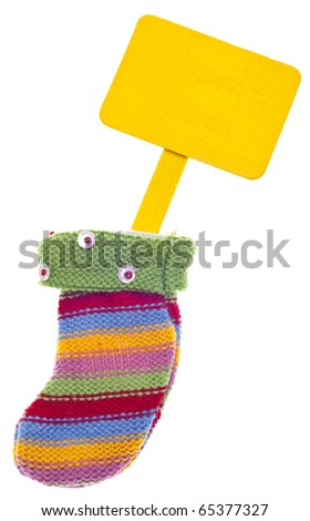 Holiday Stocking Sock with Blank Sign for Message.  Isolated on White with a Clipping Path. - stock photo