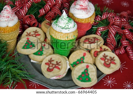 holiday sugar cookies with ice cream cone cakes - stock photo