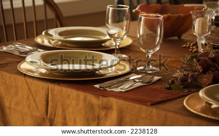 Holiday Supper Setting in a Cozy Home - stock photo