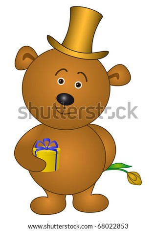 Holiday symbol: teddy bear enamoured in cylinder with gift box and flower