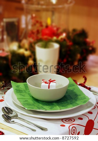 Holiday table awaits the family on Christmas day - stock photo