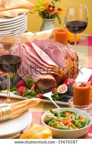 christmas ham dinner table - photo #48