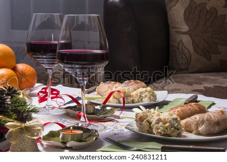 Holiday Table With Appetizers, Food and Wine - stock photo
