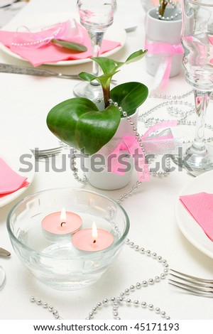 Holiday tableware in white and pink colors - stock photo